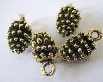 5 Antique Gold Pine Cone Charms, 15x8mm, Jewelry Supplies