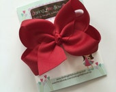 """Cranberry Bow, Cranberry Hairbow -- choose 3"""" 4"""" 5"""" or 6"""" bow -- AMAZING quality handmade in Tennessee"""