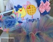Easter Outfit for Girls - Tutu Outfit - All My Chickies Wear BIG Bows - chick bodysuit, leg warmers, tutu and bow