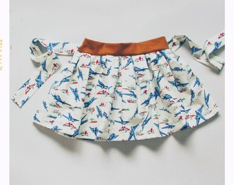 Girls Airplane Skirt Cotton Skirt for Girls Skirt with Belt Modern Skirt Fun Print Skirt Twirl Skirt Baby Skirt 2T Skirt 3T Skirt 4T Skirt 5