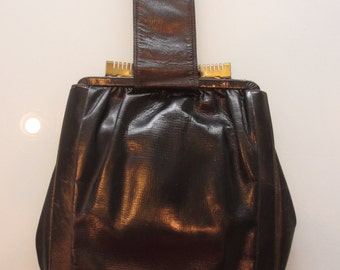 Vintage 1940s Wristlet Black Leather Purse