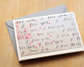 SALE-I Love You Greeting Cards with Gray Envelopes // 4 Bar // Valentine's Day // Love Note // Blank Cards // Thinking of You // Anniversary