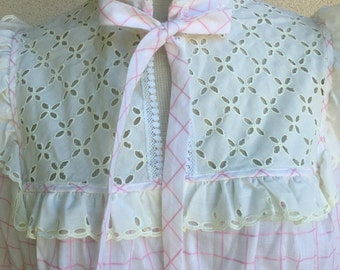 Vintage Christian Dior Pink Plaid w/Lace Long Sleeve Night Gown Size M-L