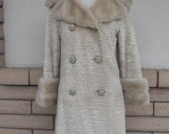 Vintage 70s White Faux Fur Coat Vegan Double Breasted Pea Coat w/Fur Size M-L
