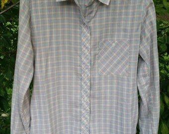 Ladies Vintage Pastel Plaid Button Up Blouse By James Cox