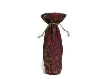 Wine Bag sari fabric elegant silk brocade metallic red paisleys light gold gift bag Hostess gift favors reusable