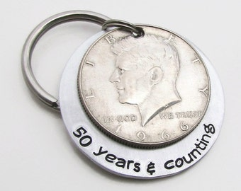 50th Anniversary Gift - Personalized KeyChain - Hand Stamped KeyChain - 50th Birthday Gift for Him 50 Years & Counting Keychain Half Dollar