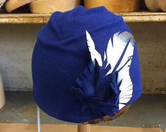 Indigo Fur Felt Cloche.   Felt Cloche Hat, Womens Hat, Flapper Cloche