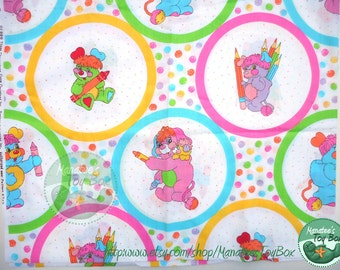 Vintage Popples Fabric 1980s TCFC Over 1 Yard Many Characters with Coloring Theme PC Pancake Putter