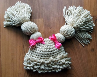 Cabbage Patch Doll Crochet Hat ALL COLORS Baby Girl Photo Prop Ready Item