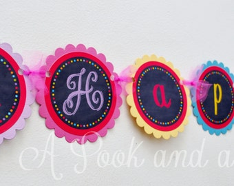 Chalkboard Happy Birthday Banner in Bright Colors