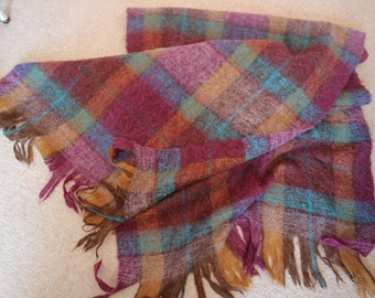 30% off Magenta toast brown turquoise wool mohair wrap checked Scottish vintage 60s