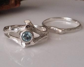 Twig Style Engagement Ring, Blue Aquamarine Wedding Band Set, Beautiful Alternative Bridal Set, Branch, Nature, Tree Style by Dawn Vertrees
