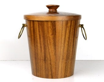 ice bucket, teak, danish modern, mid century modern, barware, retro, mod, brass, vintage barware, wood grain, mid century
