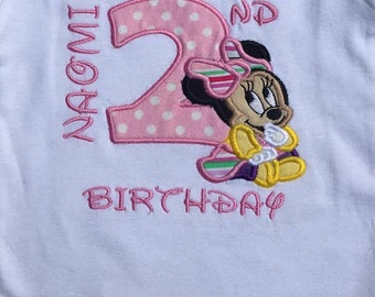 Minnie Mouse Shirt, Minnie Mouse Birthday Shirt, 2nd Birthday Shirt, Girl's Birthday Shirt, Personalized Minnie Mouse Shirt