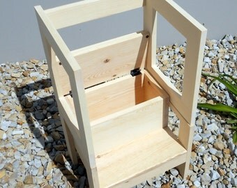 """14"""" Toddler Storage Step Stool with Side Rails, Unfinished"""