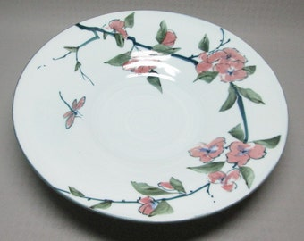 hand thrown pottery bowl with dragonfly and flowers 1993 studio pottery