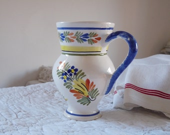 French Vintage Jug -Quimper - 1980 Charming French Vintage Brittany Pitcher