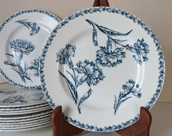 Set of 6 French Dinner Plates Early 20th century - French Antique Plate Luneville Blue decor transferware Eyelet - French Ironstone