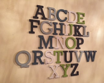 Full Wooden Alphabet - Hand Painted Wooden Letters Set - 26 letters - 12cm high, Rockwell, any colours