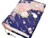 Large Bible Cover, Handmade Book Cover, Vintage Silk Kimono Fabric, Komon Pattern Pink Folding Fans on Blue, UK Seller