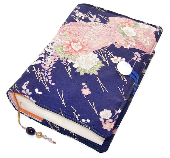 Large Fabric Book Cover : Large bible cover handmade book vintage silk kimono