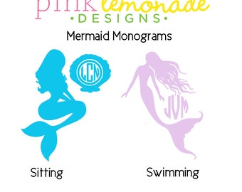 Mermaid Monogram Decal, Mermaid Monogram Vinyl Decal, Personalized Mermaid Vinyl, Mermaid Yeti Decal