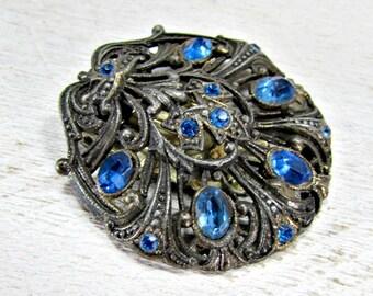 Antique Art Deco Dress Clip, Blue Rhinestone Dress Clip, Silver Filigree Dress Clip, 30 Great Gatsby Prom Wedding Jewelry Something Blue Old