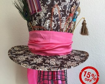 Alice Through the Looking Glass Mad Hatter hat, tea party, wedding, Christmas, Halloween, Valentine