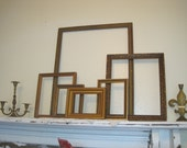 Eclectic Collection of 6 Ornate Vintage Wood Frames Gilded & Aged Patina - Glam Gold Open Frame Gallery