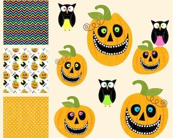 halloween clip art pumpkins owls animals clipart digital - Playful Pumpkins Digital Clipart and Digital Papers
