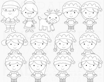 christmas papers digital santa elves elf - The North Pole Digital Papers