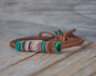 Unique Bracelet - Fiber Bracelet - Bohemian Jewelry - Boho Bracelet - Yarn Bracelet - Fashion Jewelry - Leather Bracelets - Boho Fashion