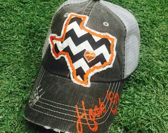 University of Texas Longhorns State Baseball Bling Ladies Womens Trucker Hat
