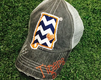 University of Auburn Tigers State Baseball Bling Ladies Womens Trucker Hat