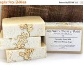35% OFF FLASH SALE Lavender Goat Milk Oats and Honey Luxury Cold Process Rustic Soap - Palm Free