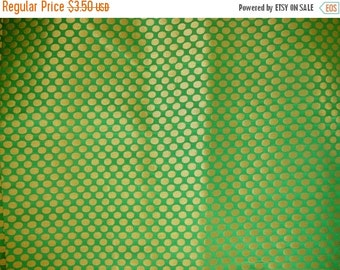 15% off Fat Quarter Grass Green with Gold Silk Brocade Fabric in Polka Dot Pattern