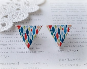 Wooden Triangle Colourful Blue Drip Stud Earrings