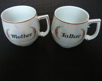 Mother and Father Czechoslavakian Lusterware Mugs