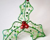 Holly Bells Wire Hand Knitted and Beaded Holiday Christmas Ornament