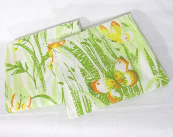 Pillowcases, Pair (2) of vintage sheet pillowcases - Green grass, yellow flowers and butterflies