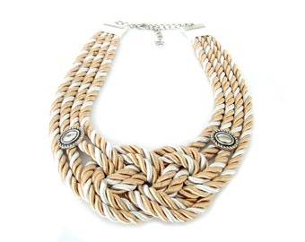 Nautical Rope Statement Necklace, Knotted Necklace