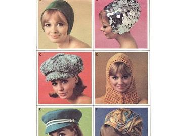 Vintage 1960s Hat Pattern McCall's 8601 Mod GoGo Jockey Cap Snood Helmet That Girl Agent 99 Small Large