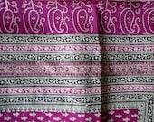 Fat quaters yardage Magenta silk sari up cycled intersting prints Indian designs