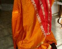 sari pure silk gold yellow orange gopi dress silk yardage throw curtains