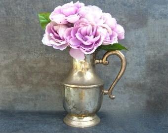 Silver Water Pitcher, Vintage Shabby Chic Wedding Centerpiece, Heavy Tarnish Patina, Flower Arrangement, Jug Vase, Leonard India