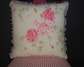 Upcycled Vintage Red Rose Tea Pillow