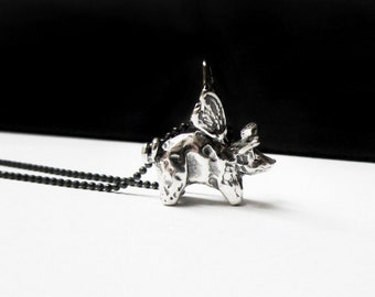 flying pig necklace, when pigs fly, pig jewelry, mother daughter, congratulations gift, sterling silver necklace, 3d, friend gift