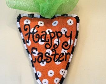 Happy Easter Carrot Burlap Door Hanger