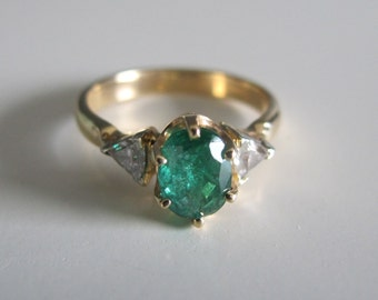 Genuine Emerald and Diamond Ring